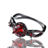 빨간 석류석 매력적인 교전 보석 검정 금에 의하여 채워지는 약속 반지