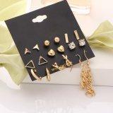 pendientes del color de la plata de la vendimia del triángulo 9pcstassel para la joyería de las mujeres