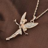 Collar plateado oro superior de la joyería de la manera de la aleación del ángel de Rose de la venta