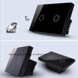 Interruptor del tacto del panel del vidrio cristalino, nosotros estándar, interruptor ligero teledirigido de la manera de 2 cuadrillas 1, interruptor de la pared, interruptor del tacto
