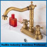 O centro antigo do bronze 4-Inch ajustou a torneira de misturador da bacia do Faucet do dissipador do banheiro de 2 botões