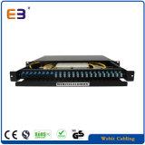 1u panneau de raccordement de fibre optique - Boîtier de terminaison de 24 ports avec adaptateurs Sm LC en duplex