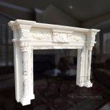 Lareira em mármore branco com boa talha para Decoraction