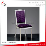 Stapelbares Silber angestrichener purpurrotes Gewebe-hölzerner nachgemachter Lebesmittelanschaffung-Stuhl (BC-192)