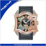 Vigilância de moda original relógio de pulso de quartzo com banda de couro Real e Mop Discar