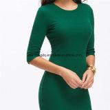 Les femmes Bodycon de type d'été rectifie de robe verte occasionnelle du MIDI de chemise de collet d'équipage d'arrivée neuve sexy demi