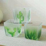 Quadrat-bereiftes Glas-Kerze-Glas