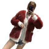 新しい方法女性自然なFoxの毛皮のコートの冬によって編まれる毛皮のジャケット