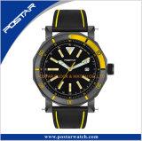 Montre-bracelet noire d'armée de Tachymeter de quartz de sport de datte de courroie en cuir de Mens