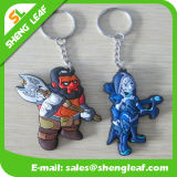 Blauwe Voetbalster Rubber2D/3D Rubbier Keychains