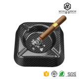 Fibra de encargo y negro del carbón para el final brillante del cenicero portable del cigarro