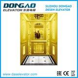 Luxury elevação do passageiro com espelho de ouro a gravação