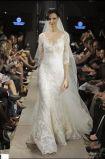 Потрясающие кружева Half-Sleeves V-образный вырез горловины на полную длину свадебные платья