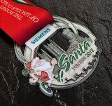 Medalhas quentes feitas sob encomenda do funcionamento de Santa do metal da fita da venda com cor azul