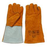 Gants de soudure protecteurs de sûreté de cuir fendu de peau de vache