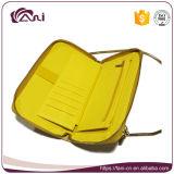 Яркие желтые бумажники повелительниц цвета с длинней цепью, оптовым бумажником женщин PU