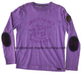 Garment Dye Cotton Jersey T Shirt para menino com bordado