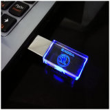 Novo Crystal USB Flash Drive 4GB 8GB 16GB 32GB para logotipo do carro USB Memory Drive Stick Pen Drive / Car Gift, LED Light