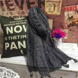 A guarnição do laço Plained o linho/o lenço tingidos forma do algodão com Tassels (H01)