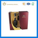 Boîte de empaquetage de papier rigide de luxe à vin de qualité (avec le plateau découpé avec des matrices par EVA)