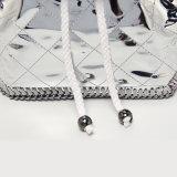 Waterproof PU Rhombic Sliver Chains Backpacks (A071)