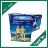 Caixa de bola de futebol de papel ondulado com design de janela