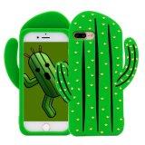coperchio posteriore del silicone 3D di iPhone 7 del cactus del telefono più di disegno