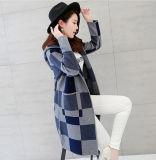 Le donne adattano a reticolo controllato lavorato a maglia viscoso il cardigan incappucciato (YKY2059)