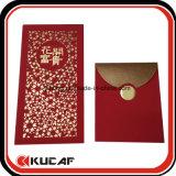 Paquete de lujo de encargo del rojo de la impresión del sobre de la fábrica profesional