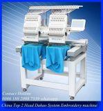 2 de hoofd Industriële Naaiende Machine van het Borduurwerk/Machine van het Borduurwerk van Cording van het Lovertje van de T-shirt de Vlakke
