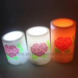 Escarda romántico decorativo Pilar impresa flor LED sin llama de la vela que brilla