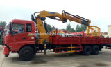 Dongfeng 10 spinge un camion di 15 T montato con la gru con il trivello ed il cestino