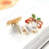3 Oorringen van de Nagel van de Klokken van het Kenwijsje van Kerstmis van het Kristal van het Email van kleuren de Mini