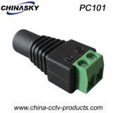 ねじ込み端子(PC101)が付いている2.1*5.5mmの女性CCTVのDC電源のコネクター