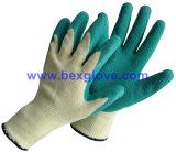 10 Doublure en polyester de jauge/Tc, revêtement en latex, finition ondulée gant de travail de la sécurité