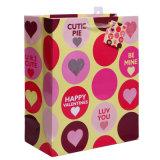 Schitter de Zakken van de Gift van de Dag van Valentijnskaarten met het Hangen van Markering en Handvat Organza