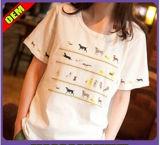 Het Sexy Katoen van de manier/Polyester Afgedrukte T-shirt voor Vrouwen (W301)