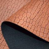 Couro sintético do plutônio do teste padrão do crocodilo de Matt para a decoração da sapata do saco
