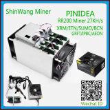 2018 Nouveaux arrivés Hot-Selling Pinidea RR200 27KH/S pour l'exploitation minière des puces ASIC Miner Xmr/Etn/Sumo/BCN/Grfr/Ipbc/Aeon