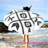 Afgedrukt om de Handdoek van het Strand van de Cirkel met Versieringen Tasssel