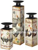 S/3 Galo e galinha Vintage Design de mobiliário em madeira MDF/adesivo de papel metálica quadrada do suporte para velas
