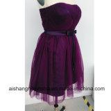 Staffelung-Kleid-reizvolles dunkles purpurrotes kurzes festes Abend-Kleid