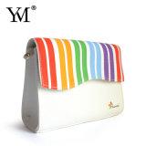 Sac de vente chaud de produit de beauté de toile de mode de couleur d'arc-en-ciel de promotion