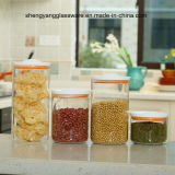 De Kruik van de Opslag van het Voedsel van het Glas van Borosilicate van de Rang van het voedsel 4PCS met de Plastic Kruik die van de Opslag van de Korrel van het Deksel wordt geplaatst