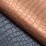 Couro sintético gravado grão do plutônio do teste padrão da pele do crocodilo para a sapata