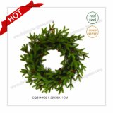 22 '' Grinalda de Natal comercial de plástico verde sazonal