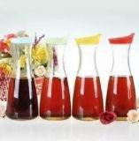 La leche por jugo Furit botellas de vidrio con tapa de plástico, tarros de vidrio para la leche, alimentos