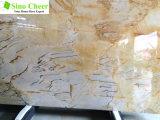 美しく黄色いオニックス大理石、磨かれた平板のタイル