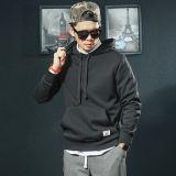 Черный хлопок и полиэстер смесь мужская колпачковая Sweatshirt, удлиненной худи Pullover спорта