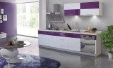 Gabinete de cozinha moderno da superfície econômica pequena da laca da unidade da cozinha (zz-025)